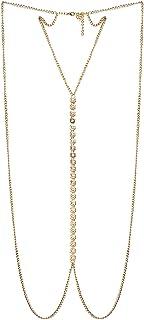 FemNmas Rhinestone Studded Body Chain Bikini Jewelry Belly Chains Beach Wear for Girls & Women