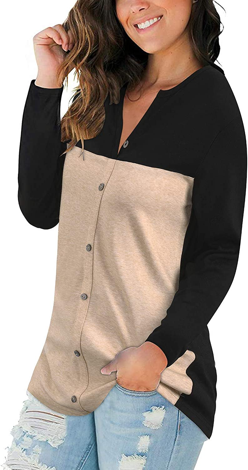 LAISHEN Women Long Sleeve V Neck Button Down T Shirt Color Block Casual Loose Tunic Tops Blouse