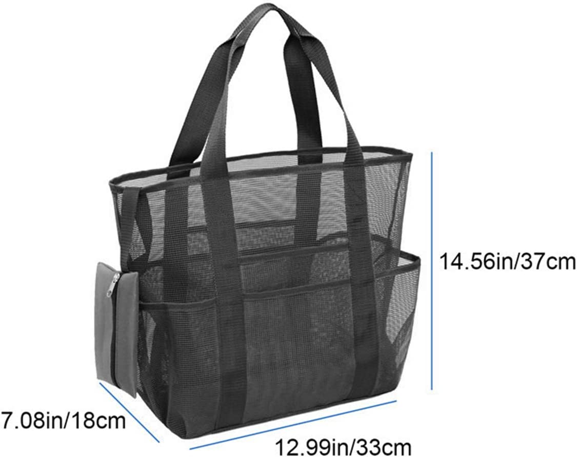 Sand Pool Toys Organizer Storage Bag /& Shell Bag with Pockets for Adults Kids Toddlers Large Swim Net Beach Bags for Women Yinuoday Mesh Beach Bag Tote