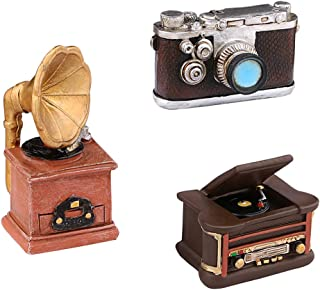 Dedoot Mini Resin Ornament Vintage, Set of 3 Pack Creative Retro Camera Phonograph and Record Player Model Ornament for Photo Props Home Decor Tabletop Decoration