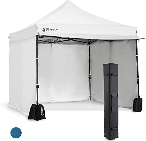 lowest Arrowhead Outdoor 10'x10' Heavy-Duty 2021 Pop-Up Canopy, Instant Shelter, Easy lowest One Person Setup, Water & UV Resistant, Push Button Legs, Wheeled Bag, Guide Ropes, Stakes, Side Walls, Awning, USA-Based sale
