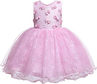 HUAANIUE Girls Pageant Wedding Birthday Party Dresses for Toddler and Baby Girl - Pink - 4T / 5T