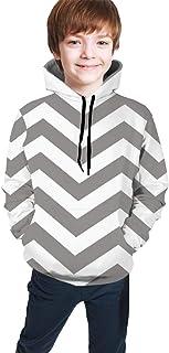 Gray Stripes Kids/Teen Girls' Boys' Hoodie,3D Print Pullover Sweatshirts
