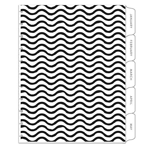 BetterNote Dividers for Letter Size Discbound Notebook, Tabbed Divider Pages fit 11-Disc Calendar, Fits Levenger Circa, Arc by Staples, TUL by Office Depot, 8.5'x11' B&W Pattern (Planner Not Included)