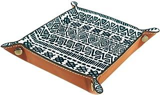 Boîte de rangement pliable en cuir PU pour bureau avec motif cœur flammant, Style ethnique., 20.5x20.5cm