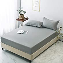 Mattress Protector,Polyester Solid Color Sheets,Non-Slip Protective Cover,Apartment Bedroom Double King Size-Gray_137*200cm