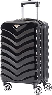 Flight Knight Lightweight 8 Wheel ABS/Polycarbonate Suitcases Approved For Over 100 Airlines - Cabin Black Gloss FK06_BKGL_S