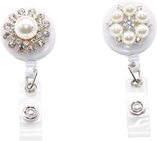 CHUN Pearl Retractable Badge Reels ID Card Badge Holder with Belt Clip Key Keychain Holders,Pack of 2 A