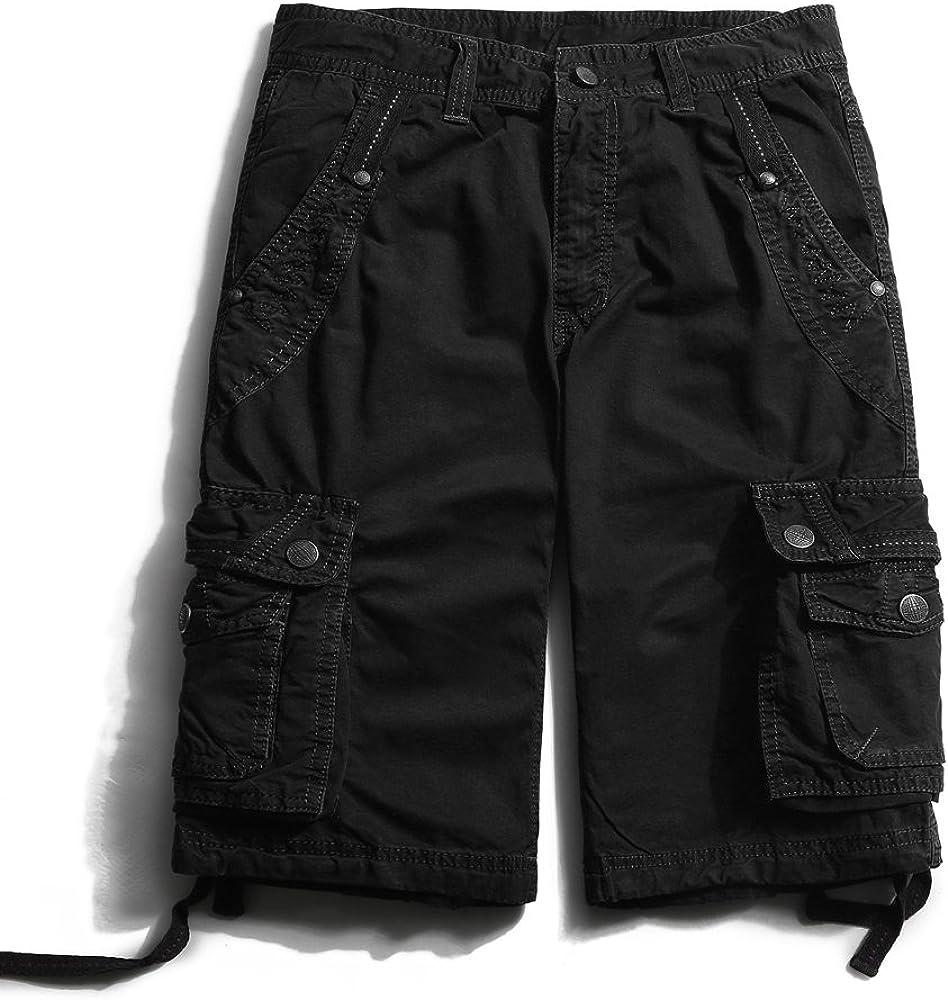 OCHENTA Men's Leisure Multi Pockets 40 Cheap mail order specialty Max 83% OFF store Black Cargo Shorts