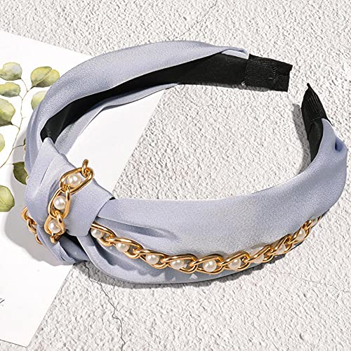 Bandas para El Pelo De Tela,Diadema Anudada con Cadena de Perlas de Tela Nueva-Azul,Pelo Anchas Diadema De Nudo Bandas