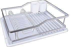 KOOK TIME– Escurreplatos de Cocina – Aluminio Anodizado/PP – Blanco