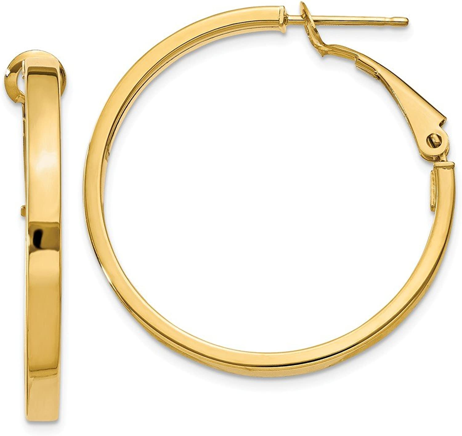 Beautiful Yellow gold 14K Yellowgold 14k 3x25mm Polished Square Tube Round Hoop Earrings