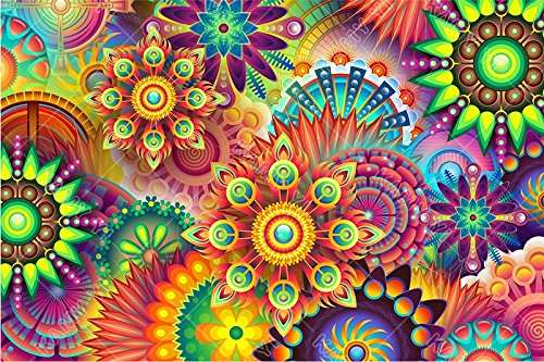 Large Premium Full 5D Diamond Painting Full Drill Kaleidoscope Mandala Paint by Number Kits Embroidery Paintings Pictures Arts Craft for Home Wall Decor 16 x 20 inch