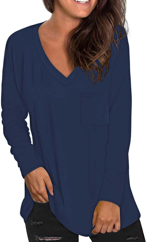 MOLERANI Women's Plus Size Long Sleeve V Neck Loose Tunic Tops Casual T Shirt Blouse with Pocket M-4XL