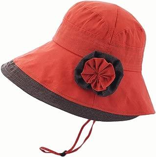 Hat Summer New Cotton Breathable Sun hat Curling (Color : Orange, Size : 56-58CM)