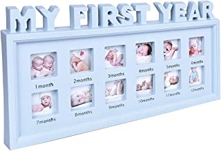 My First Year Baby Keepsake Frame for Photo Memories, 12 Months Picture Frames with Twelve 1.8