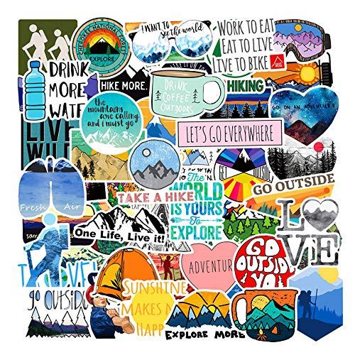 LZWNB Aventura al Aire Libre Senderismo Escalada Aventura Maleta Pegatinas Impermeables Trolley Case Skateboard Notebook Stickers 50 Hojas
