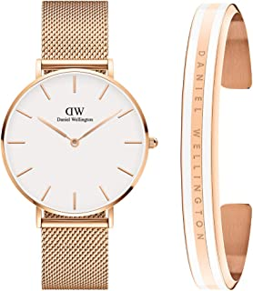 Daniel Wellington Unisex Petite Melrose 36mm Watch, Classic Slim Bracelet Satin Gift Set, Medium, White
