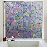 Película para Ventanas esmerilada sin Pegamento de privacidad, película Decorativa de Forma geométrica de Vidrio Colorido, Utilizada en el baño Familiar, Cocina Y 60x300cm