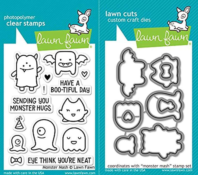 Lawn Fawn Monster Mash Clear Photopolymer Stamps Bundle with Coordinating Lawn Cuts Dies LF700 LF701