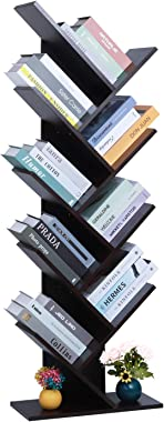 TINSAWOOD 8-Shelf Rack Bookcase, Wooden Tree Bookshelf, Artistic Free Standing Book Storage Organizer,Books/CDs/Albums/Files