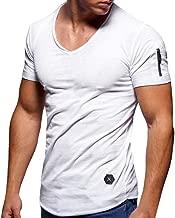 Men's Summer T-Shirt Zipper Slim Fit Solid Shirt Short Sleeve Top Round Neck Casual Work Sport Muscle Tee