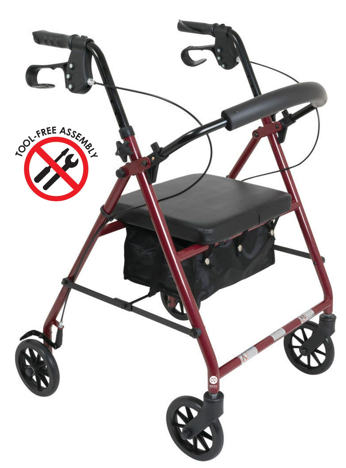 Aluminum Rollator Rolling Medical Burgundy