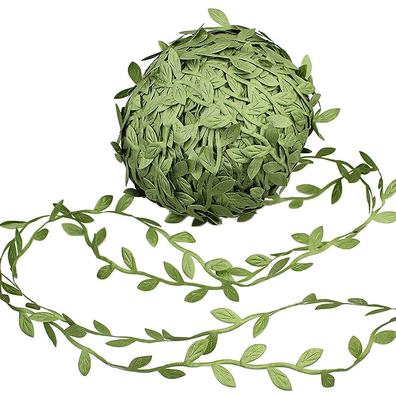 Supla 327 Ft Artificial Vines Fake Hanging Plants Leaves Ribbon Leaf Vine Trim Foliage Rattan DIY Wreath Foliage Green Leaves Ribbon Decorative Home Wall Garden Wedding Party Wreaths Decor