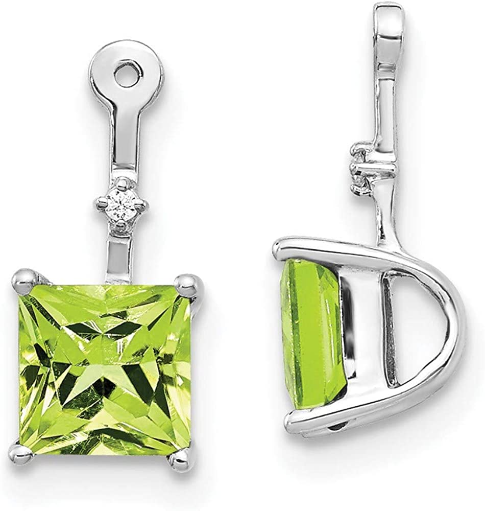 14k White Gold Diamond Square Green Peridot Ear Jacket Jackets For Studs Fine Jewelry For Women Gifts For Her