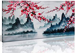 Large Wall Art Decor for Living Room Bedroom Framed Hand-Painted Chinese Style Pink Plum Blossom Canvas Picture Modern Black and White Landscape Flower Painting for Home Office 48x24 Inch