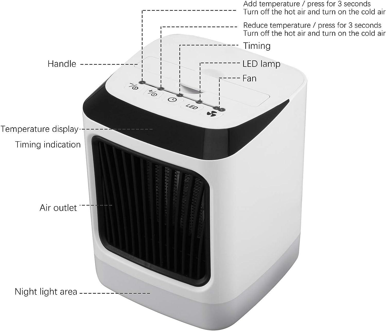 Luz nocturna 7 colores Calefactor ba/ño bajo consumo con control remoto 800W electrico calefactor de aire caliente con Temporizador // Silencio protecci/ón contra sobrecargas resistente al agua