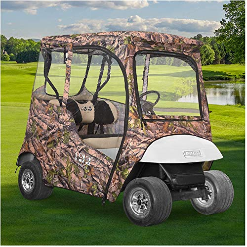 9.99WORLD MALL Golf Cart 2 Passenger Driving Enclosure for EZGO TXT, Clear PVC Window Camo Tarp Rain Cover with Zipper Entry All Weather Waterproof Dustproof Sunproof