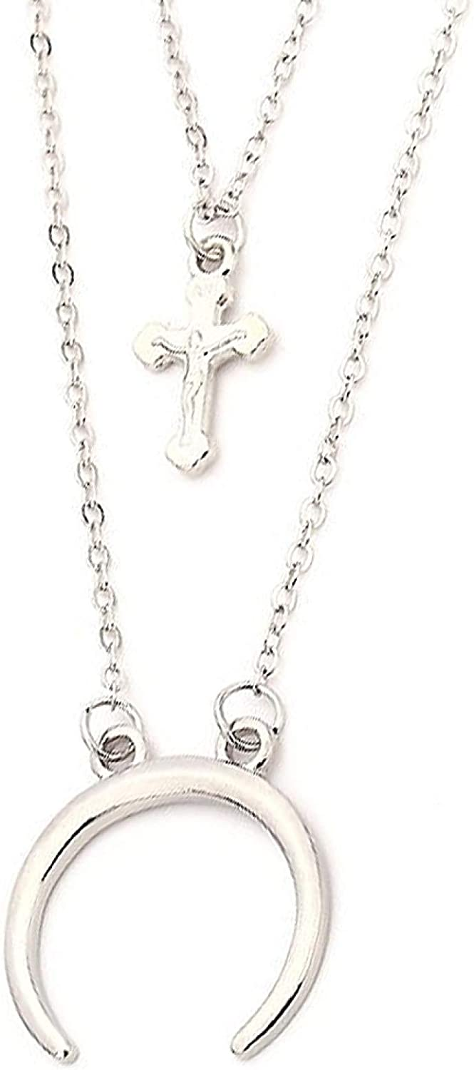 Crescent Moon Excellence Cross Pendant Double Layer Short Colorado Springs Mall Necklace Chain Je