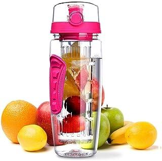 Fruit Infuser Water Bottle 1L 32 oz Bpa-Free Sports Flip-Top Lid Large Capacity Leakproof Sport Water Bottle for Gym Home ...