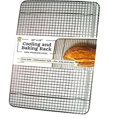 Ultra Cuisine Stainless Steel Cooling Rack for Baking fits Jelly Roll Sheet Pan - Heavy Duty Wire Grid for Cookies, Cakes and Bread - Oven Safe for Roasting, Cooking, Grilling, Drying (10 x14.75 )
