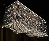 Contemporary Rectangle Crystal Raindrop Flush Ceiling Light Fixture/Chandelier for Dining Room/Lobby/Kitchen Island (21 Lights)
