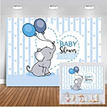 Mocsicka Elephant Baby Shower Backdrop 7x5ft It's a Boy Baby Shower Blue and White Stripe Photo Backdrops Cute Balloon Elephant Cake Table Banner Photography Background