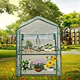 2 Tier Mini Greenhouse with Clear Cover Greenhouse Cover Replacement Heavy Duty Waterproof PE/PVC Garden Plant Cover Double Curtain Zipper No Frame