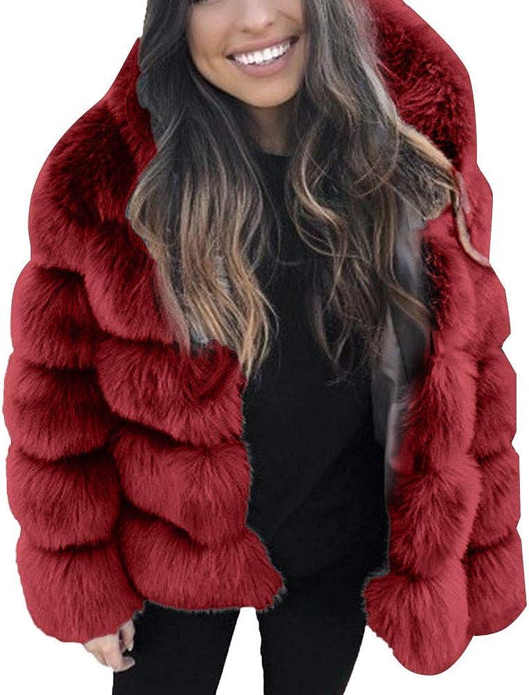 Cardigo Plus Size Womens Short Faux Coat Warm Furry Jacket Long Sleeve Outerwear