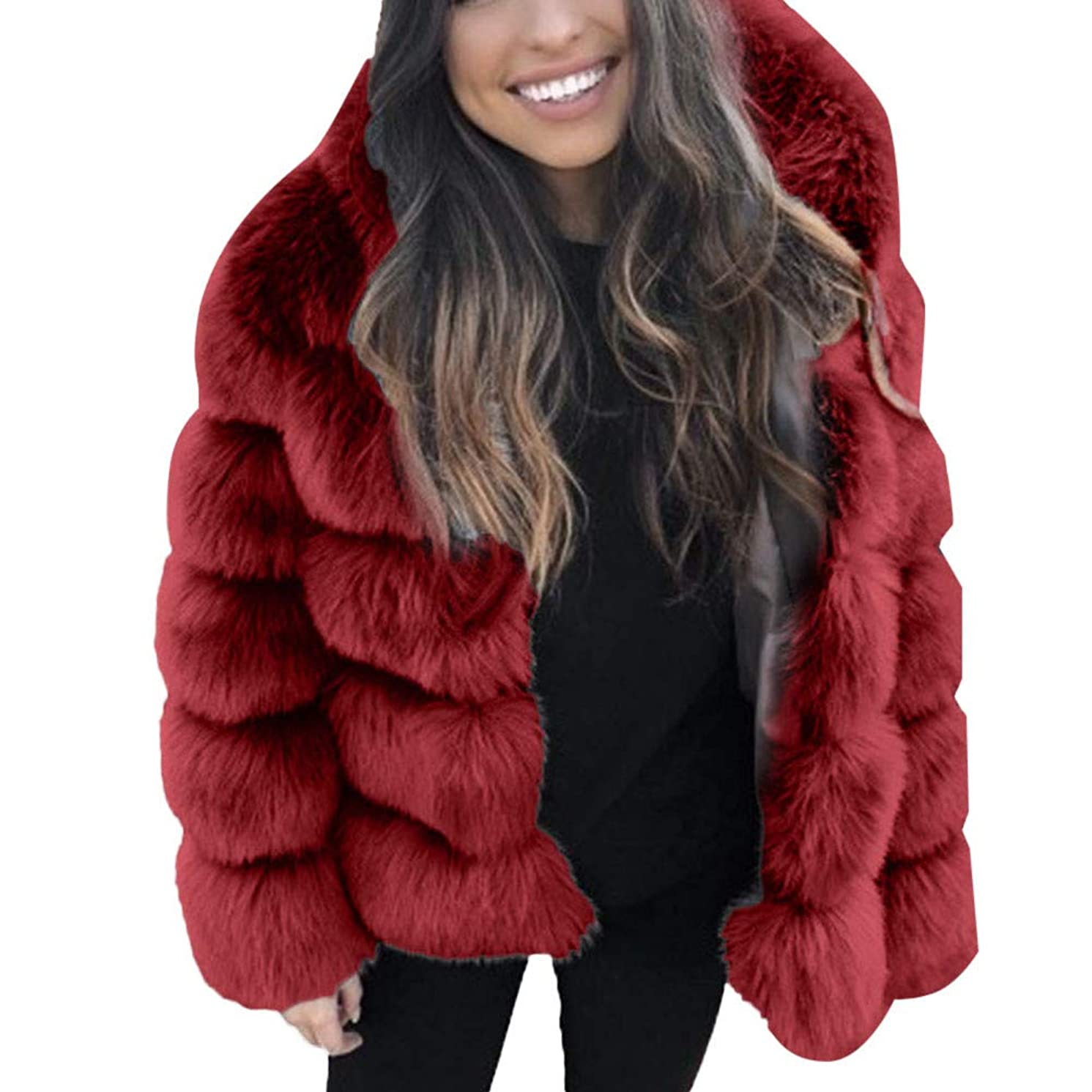 AOJIAN Women Jacket Long Sleeve Outwear Warm Faux Fur Hooded Furry Quilted Solid Color Overcoat Coat
