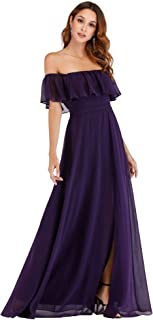 fc25a9a7065 Ever-Pretty Womens Off The Shoulder Ruffle Party Dresses Side Split Beach  Maxi Dress 07679
