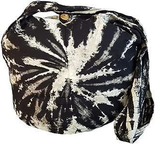 BTP! Tie Dye Sling Crossbody Shoulder Bag Purse Hippie Hobo Cotton Bohemian Black White Spiral VJ1
