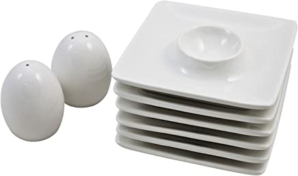 Retsch Arzberg Eierbecher Set, Porzellan inkl. Pfeffer- & Salzstreuer, weiß, 8-teilig (1 Set) preisvergleich bei geschirr-verleih.eu