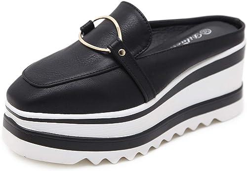 YAN Sandalias de Las mujeres Hauszapatos de Cuero sintético Moda plataforma zapatos Casual Slingback zapatos Casual Diario Caminar zapatos negro blanco,negro,35