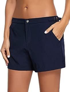 Womens Quick Dry Snap Button Zip Swimsuit Bottom Pocket Beach Board Short