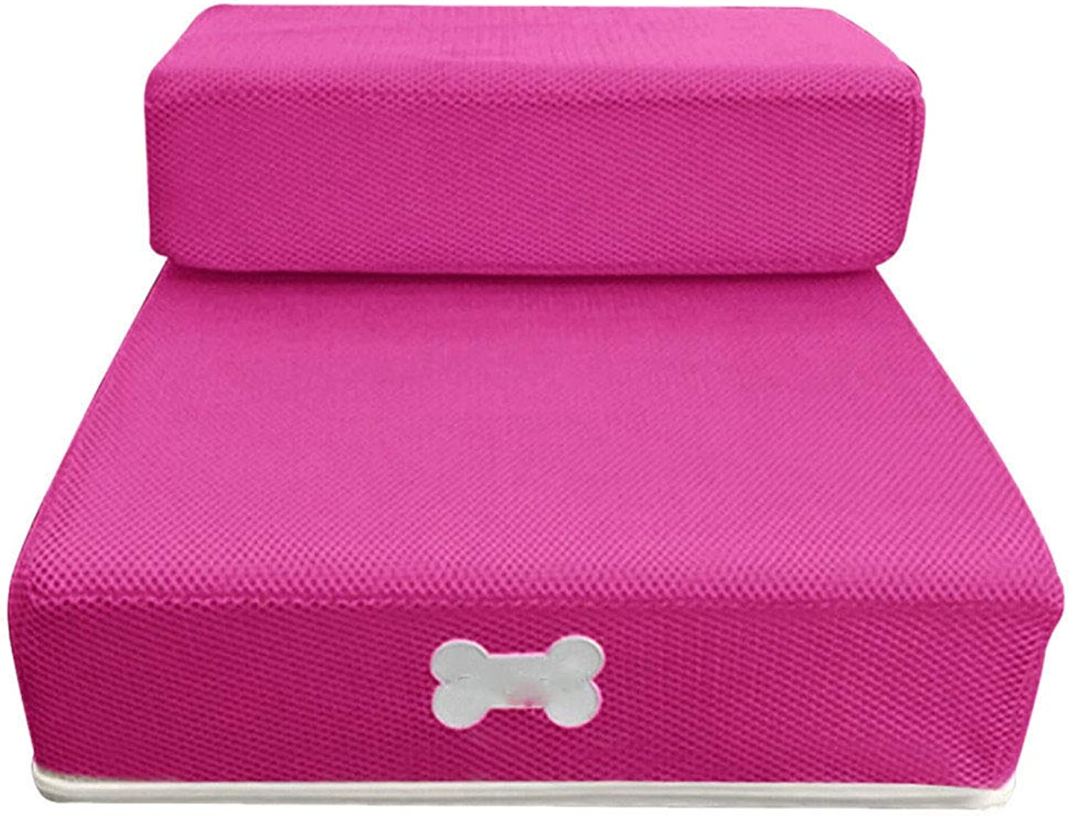 Cookisn New Pet Cat Dog Stairs Breathable Mesh Foldable Stairs Detachable Pet Bed Stairs Dog Ramp 2 Steps L Cama Perro Hot Pink 50 x30 x 10cm