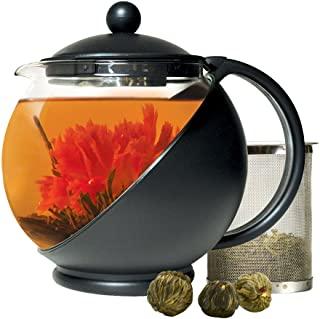 Primula PTA-4203 Half Moon Teapot with Removable Blooming and Loose Leaf Tea Maker Set, Stainless Steel Filter for Premium Infusion, Borosilicate, Heat Protective Plastic Cage, 40-Ounce, Black/Glass