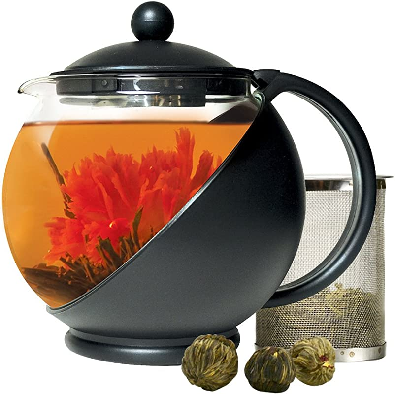Primula Half Moon Teapot For Flowering Tea Set Wide Mouthed Temperature Safe Glass 40 Oz Clear Glass With Black Accents Includes 3 Flowering Teas Dishwasher Safe