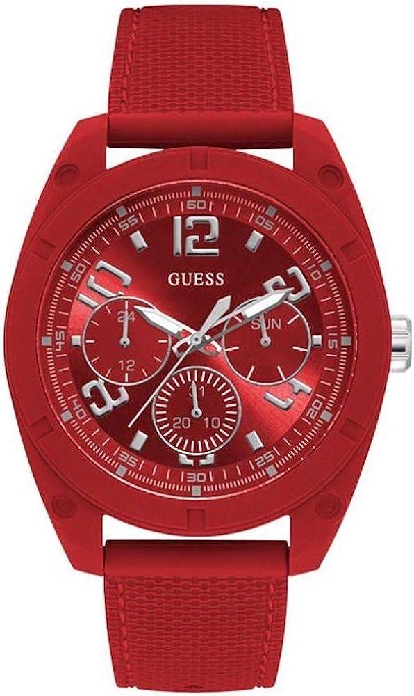 Guess dash orologio da uomo cassa in acciaio rosso cinturino in silicone W1256G4