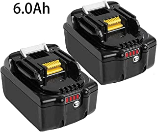6000mAh 18 Volt BL1860B Replace for Makita 18V Battery Lithium with LED Indicator Compatible with BL1850B BL1840B BL1830B BL1815B LXT-400-2 Pack